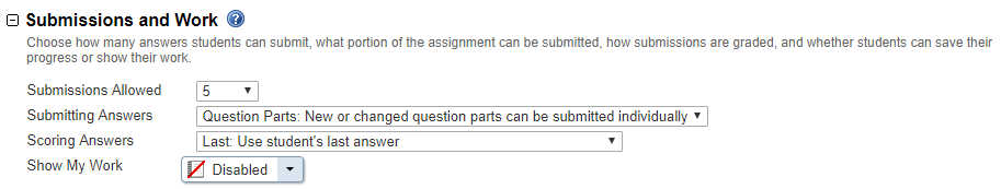 Set Submissions for Assignments